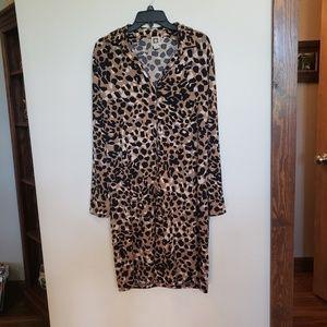 Animal Print Button Down Dress